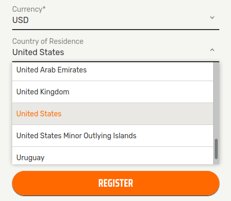 US Friendly Casino Sign-Up Form Example